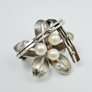 Pearl 1950s Modernist Sterling Silver Brooch Mid Century Floral Flower Atomic