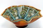 """Studio Art Pottery Fluted Centerpiece Bowl Drip Glaze Brown Turquoise Signed 14"""""""