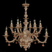 New Capodimonte Chandelier W/12 Arms Brown/gold 3 Cherubs Made In Italy