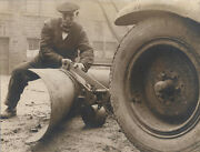 1934 Photo Of Early Snow Plow For Motor Car W/ Firestone Tire