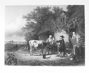 Old Antique Print Cow Doctor Vet Veterinarian Farmer Farming C1860and039s Engraving