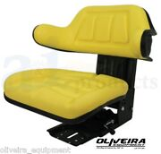 Yellow Tractor Suspension Seat John Deere Wrap Around Back With Arms