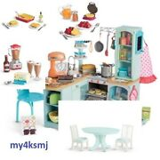 American Girl Gourmet Kitchen Set For Doll + Dining Table And 3 Food Sets Waffle +