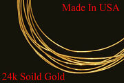 1 Foot 24k Pure .999 Solid Yellow Round Gold Wire Gauge 30 -18 Gauges Brand New