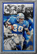 Original Nfl Detroit Lions Barry Sanders Acrylic Large Painting Greatest Ever