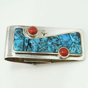 Red Turquoise Coral Cabochon Money Clip Sterling Silver Native American Indian