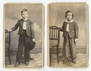 2 Cent Stamp Set Of 2 Cdv Studio Portraits Boys From Pittsburgh Pa
