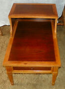Mid Century Walnut And Pecan Step End Side Table / End Table By Drexel T598