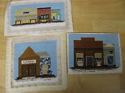 3 Finished Needlepoint Wild West Old Fashioned Town Store Fronts Bank Livery