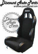 Sparco R100 In Black Cloth Recline Reclinable Comfort Seats Jdm New Pair