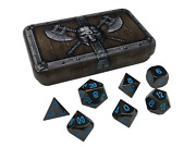Dwarven Chest With Icy Doom | Shiny Black Nickel With Blue Numbers Metal Dice