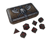 Dwarven Chest With Butcherand039s Bill | Gunmetal Gray With Red Numbering Metal Dice