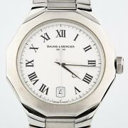 Menand039s Baume And Mercier Stainless Steel Riviera Quartz Watch W/ Date Feature