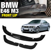 A Style Carbon Front Bumper Lip Skirt Body Spoiler 3p For Bmw 2000-2005 E46 M3