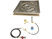 316 Stainless 18andrdquo Fire Ring Deluxe Propane Fire Pit/ Table Kit W/ 22x22 Pan