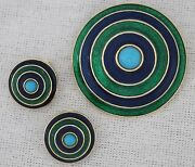 Vintage Mid-century Modern Florenza Concentric Circle Enamel Brooch And Earring De