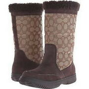 New Coach Womenand039s Sherman Sig Suede Chestnut Winter Snow Boots Size 7