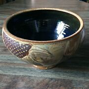 Large Footed Studio Pottery Stoneware Serving Bowl Sunflowers Signed Phillips