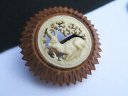 Old Antique Nut Seed And Deer Antler Bone Carved Scene Pin Brooch 10k Yellow Gold