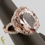 14k Rose Gold Diamond And Oval Cut Morganite Cocktail Ring Size 7 Hallmark Tal