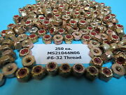 250 Ea Ms21044n06 An365-632a Self Locking Aircraft Lock Nuts With Nylon Inserts