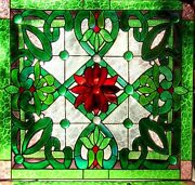 Heritage Stained Glass Leadlight Front Door / Window Hand Crafted Red And Green