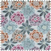Lovely Floral Pattern Blue Pink Orange Colour Woven Quality Upholstery Fabric