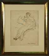 Signed Ink On Paper Boris Solotareff Russian 1889-1966 Portrait Of Seated Lady