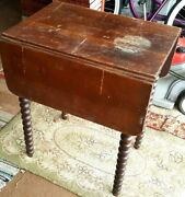 Drop Leaf Side End Table Waterfall Drawer Early 19th Furniture American C1840
