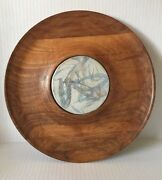 Vintage  Danish Modern Furney Pottery Walnut Cheese Board Plate
