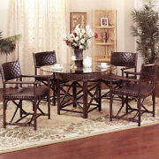Rattan And Leather Dining Room Furniture 5 Piece Set