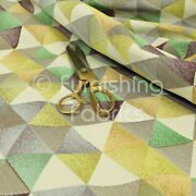 Geometric Triangle Pattern Quality Woven Jacquard Upholstery Fabric Green Limes