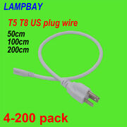 Led T5 T8 Integrated Tube Cable Us Plugs 50cm 100cm 200cm Wire 3 Pin Power Cords
