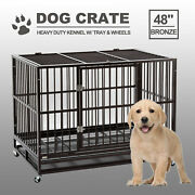 48 Heavy Duty Pet Dog Cage Large Crate Kennel W/ Tray Exercise Pan Grayandsilver