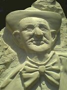 Bust Sculpture Carved On Stone Named Retired