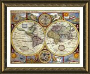 Antique Old Vintage V1 By World Map   Framed Canvas   Wall Art Print Hd Poster