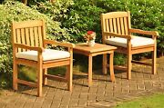 Dsdv 3pc Dining Setgrade-a Teak Giva Side Table Arm Chairs Outdoor Garden Patio