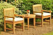 Dsdv 3pc Dining Setgrade-a Teak Noida Round Side Table Arm Chairs Outdoor Patio