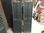 Pair Late 19th Century Victorian Wooden House Window Shutters Green 53.5 X 14