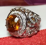 Art Deco 7.96tcw Yellow Sapphire And Diamonds In 18k Solid White Gold Ring Vintage