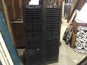 Pair Late 19th Century Victorian Wooden House Window Shutters Black 56.5 X 16.25