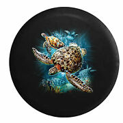 Salt Water Sea Turtle Family Swimming In The Ocean Rv Spare Tire Cover