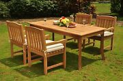 Dsdv Grade-a Teak Wood 5pc Dining 71 Rectangle Table 4 Arm Chair Set Outdoor