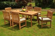 Dsdv Grade-a Teak Wood 7pc Dining 71 Rectangle Table 6 Arm Chair Set Outdoor