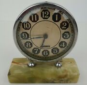 Art Deco Silvercraft Wind Up Clock Mounted On Green Onyx Marble Not Working