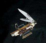 Schrade 833uh Knife Uncle Henry 3-5/16 Closed 1990's Staglon Handles Nos Usa