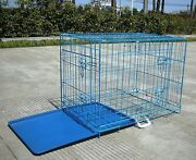 Blue 24 Pet Folding Suitcase 2 Doors Dog Cat Cage Kennel Pen W/abs Tray