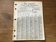 The American Loose Leaf Dictionary 1962