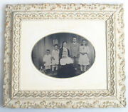 Stunning Full Plate Tintype Of Mother  Children On Porch W/ Dog - In Frame