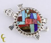 Sterling Silver Alvin Yellowhorse Inlay Turtle Pendant Brooch Lapis, Pearl, Wood